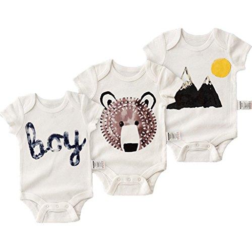 Minizone Body para Bebés Manga Corta 3 Piezas Algodón Monos Niños Peleles