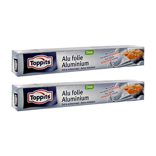 Toppits Alufolie Doppel-Kraft-Waben (24m x 29.5cm), 2er Pack (2 x 24 Meter)