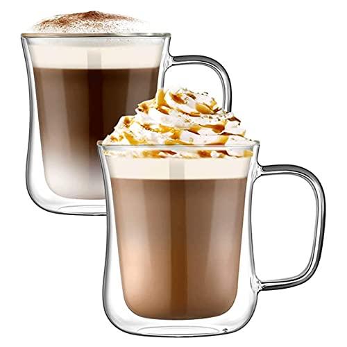 WANGLX Vasos Latte de Doble Pared,Juego de 2 Tazas de Café Juego de Vasos Térmicos Aislados para Café, Té, Café Exprés, Capuchino, Latté, Cerveza,220ml
