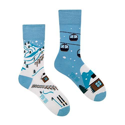 Spox Sox Casual Unisex - mehrfarbige, bunte Socken für Individualisten, Gr. 44-46, Skipiste