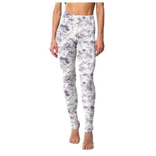 QTJY Pantalones de Yoga Delgados Retro clásicos para Mujer con Estampado Floral de Cintura Alta Leggings de Cadera Deportes de Fitness Correr Pantalones de Yoga C XL