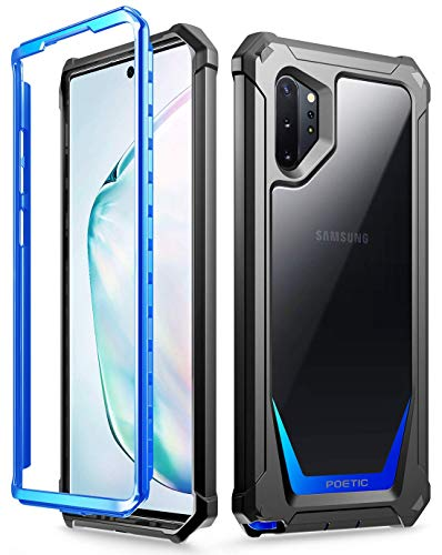 Galaxy Note 10 Plus Rugged Clear Case, Poetic Full-Body Bumper Cover, Support Wireless Charging, Without Built-in-Screen Protector, Guardian, Case for Samsung Galaxy Note 10+ Plus 5G, Blue