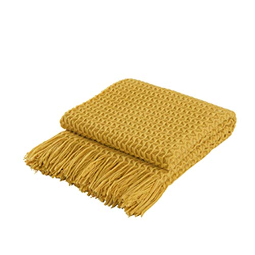 COASTLINE Super Soft Decorative Ochre Knit Throw Blanket for Sofa Couch Chair Bed, Lightweight Travel Blanket Nap Throw, Cashmere-like Soft and Cozy, Delicate Weave Pattern with Fring,127x152cm
