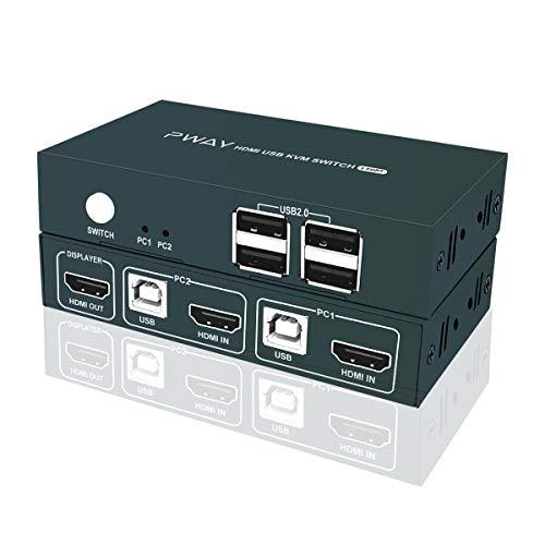 GHT GreatHTek 2fach HDMI KVM Switch 2 Port Umschalter, 4 USB2.0, UHD 4K @ 30Hz Schalter 4 PC 1 Monitor, Mit HDMI Kabel und USB-B Kabel