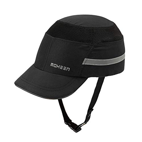 Lightweight Safety Bump Cap - Breathable Baseball Style Protective Hat with Reflective Stripes Black Short Brim