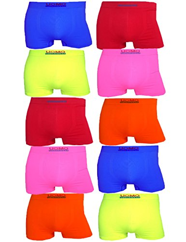 LisaModa 10er Pack Seamless Retroshorts Uomo Edition Mix M/L Neon