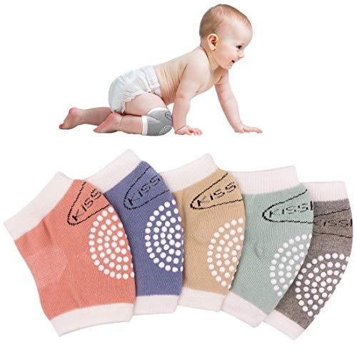 Simoda Knieschoner Baby Krabbeln 5 Paar Baby Knieschützer mit Gummipunkte Verstellbare Anti Rutsch Krabbelhilfe Baumwolle Beinlinge Unisex Atmungsaktiv Elastische Socken