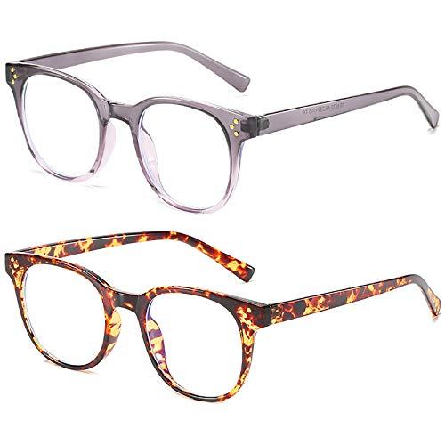 Pack de 2 gafas con bloqueo de luz azul Gafas para juegos de computadora TR Rice decoración de uñas Marco de anteojos Gafas para juegos de lectura anti-fatiga visual para mujeres y hombres,A
