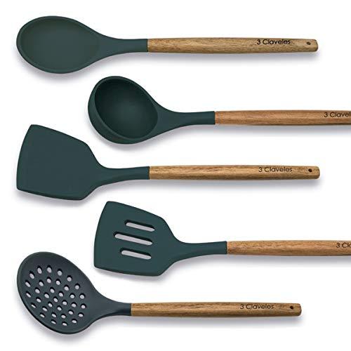 PracticDomus Juego de 5 Utensilios de Cocina 3 Claveles en Silicona Resistente a Altas Temperaturas y Mango en Madera de Haya