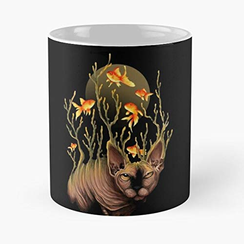 Animal Fish Food Humor Unique Meow Cat Goldfish Best 11 Ounce Ceramic Coffee Mug