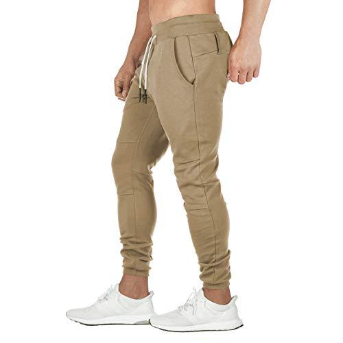 Relaude Fitness Mens Sports Trousers Sweatpants Running Pants Tracksuit Bottoms Sportswear Elastic Waist Khaki XL