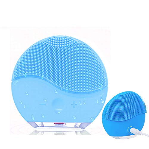 MEBAO Facial Cleansing Brush, Sonic Vibration Facial Brush, Waterproof Face Brush for Deep Cleaning, Gentle Exfoliating, Blackhead Removing and Massaging(Blue)
