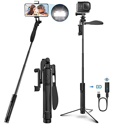 Selfie Stick Stativ, 4-IN-1 Selfie Stange 360° drehbar mit Video-Balance-Griff+Bleutooth Fernbedienung+LED Licht Für Kamera/Handy bis 6.8' iPhone 12/11 Pro Max Huawei P30 Samsung S10 S20