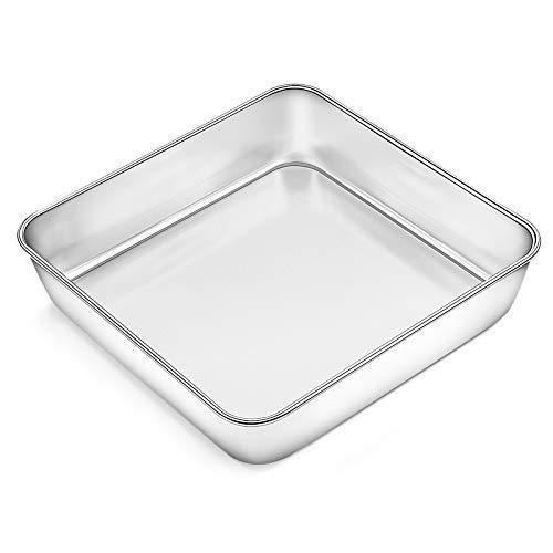 8 Inch Square Baking Pan, Deedro Square Cake Pan Stainless Steel Lasagna Brownie Pan, Toaster Oven Pan Deep Baking Pan, One-piece Molding & Leak proof, Healthy & Durable, Dishwasher Safe