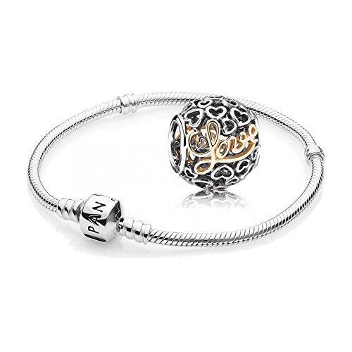Original Pandora Geschenkset - 1 Silber Armband 590702HV-21 und 1 Bicolor Element Liebe und Herzen mit 14 K Gold 791425