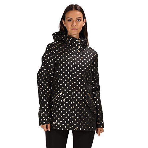 Regatta Damen Basilia Waterproof and Breathable Hooded Outdoor Jacke, schwarz mit Punkten, 38