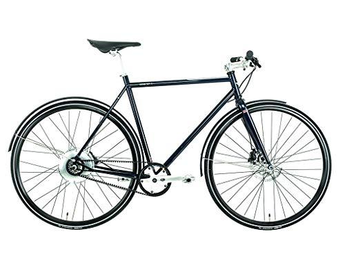 Cooper E-Bike (Pedelec, Elektrofahrrad mit Riemenantrieb, vollintegrierter 250W Hinterradnabenmotor, 160Wh Akku-Leistung, Energierückgewinnung während der Fahrt , Rahmenhöhe 57 cm) blau