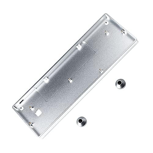 GH60 CNC-Gehäuse aus eloxiertem Aluminium für 60 % mechanische Gaming-Tastatur, kompatibel mit Poker2 Pok3r Faceu 60 mit Aluminiumfüßen (Silber)