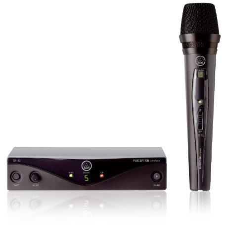 AKG Pro Audio Perception Wireless Microphone System with SR45 Stationary Receiver and PT45 Pocket Transmitter- Vocal Set (3251H00010)