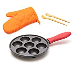 Our pre-seasoned cast iron aebleskiver pancake pan is made for delicious traditional Danish stuffed pancake balls - also known as Aebleskiver, Ebelskiver, Ebleskiver, Epleskiver, Munker, Puff Pancakes. Our Danish pancake pan is complete with bamboo s...
