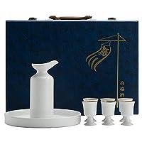 酒器 セット徳利とカップ、伝統的な磁器の日本の坂セットキット、8個入り酒器1本6カップと1トレイ,白