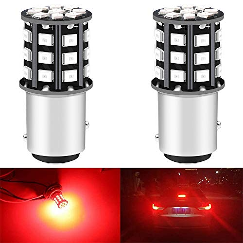ALOPEE 2-Pack 1157 BAY15D 1016 1034 7528 2057 2357 Feux de Stop de Voiture - 12V-24V Extremely Bright Red 2835 33 Feux de LED SMD - Remplacement de la LED Tail Ampoule