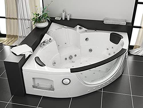 Vasca da bagno idromassaggio 152x152 cm bianca vetro frontale 28 getti con bluetooth e riscaldatore...