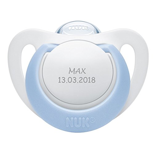 NUK Genius Schnuller mit personalisierter Gravur, Silikon, kiefergerecht, BPA-frei (hellblau, Silikon, 0-6 Monate)