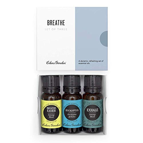 Edens Garden Breathe Essential Oil 3 Set, Best 100% Pure Aromatherapy Respiratory Kit (For Diffuser- Cold Flu & Congestion), 10 ml