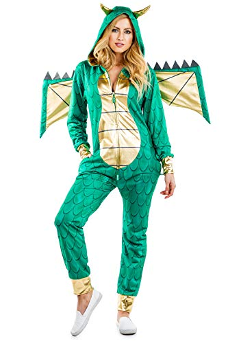 Tipsy Elves's Women's Dragon Costume - Green Mythic Monster Halloween Jumpsuit Size Large