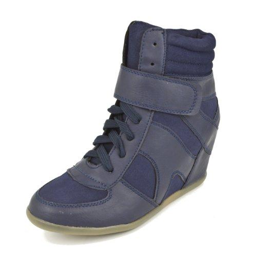Zapatillas de Deporte para Mujer, Tacon de CU–a Plataforma, Woman Sneaker Wedges, Color Azul, EU 40