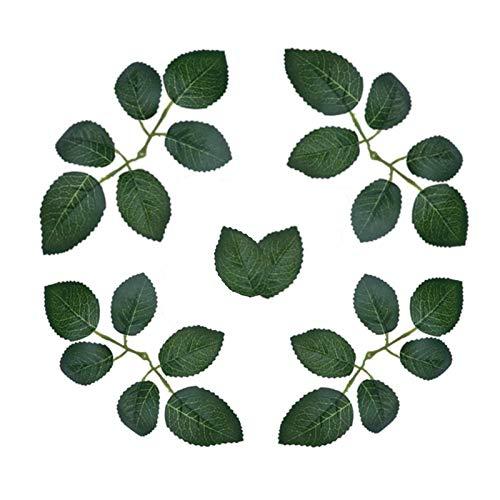 TURMIN 200pcs Hojas de Rosas Artificiales, Hojas de Flores de Rosas Falsas Centros de Mesa Verde para Decoraciones de Banquetes de Boda DIY Guirnaldas de guirnaldas de Rosas Suministros