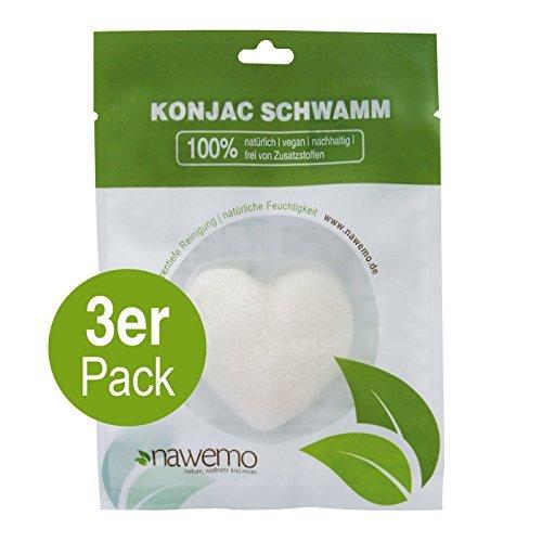 Éponge Konjac Pur en forme de coeur, pour tous les types de peau (Pack de 3)