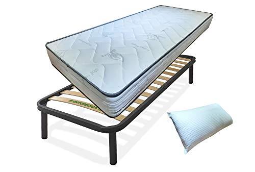Kit de somier y colchón individual de 80 x 190 x 19 cm y almohada de fibra 3D gratis, juego de noche completo