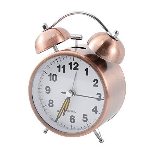 BESPORTBLE 3 5 Zoll Doppel Glocken Wecker Metall Überzogene Schale Tischuhr Klassische Desktop Uhr für Home Office (Ohne Batterie)