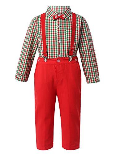 TiaoBug Baby Jungen Kariertes Hemd Langarm Bluse Shirts mit Fliege Wandenlange Anzughose Y-Form Hosenträger Weihnachtsoutfit Rot 92-98