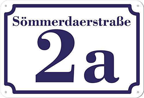 weißes Hausnummer und Straße Schild 2mm Aluverbund, 1-2 Zahlen 20 x 17 cm individuell nach Ihren Wünschen selbst gestalten