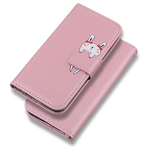 Suhctup Funda de piel compatible con Huawei P Smart 2019, caricatura rosa...