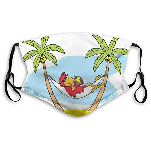 Comfortable Printed mask,Funny Illustration Parrot Lying Down In Hammock Between Palm Tree Shade In Tropics,Windproof Facial decorations for man and woman