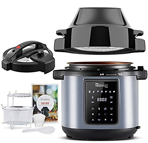 MICHELANGELO 6 QT Pressure Cooker Air Fryer Combo, All-in-1 Pressure Cooker with Air Fryer - Two Detachable Lids for Pressure Cooker, Pressure Fryer, Air Fryer, Rice,Slow Cooker,Steamer & Warmer - 6...