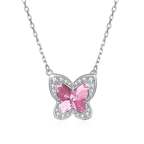Yandm Sterling Silver Austria Crystal Cubic Zirconia Romantic Butterfly Shape Pendant Necklaces for Women Color-A