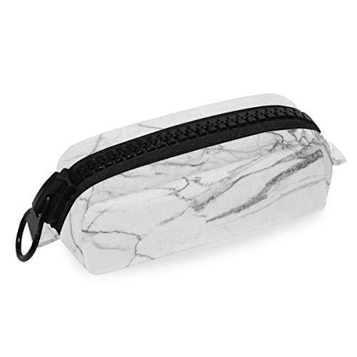 ふでばこ ペンケース かわいい 白い 大理石 花柄 大容量 ペンポーチ ラージサイズ 防水 化粧ポーチ 軽量 筆袋 大きい ファスナー 文具収納 ペン箱 おしゃれ 収納バッグ