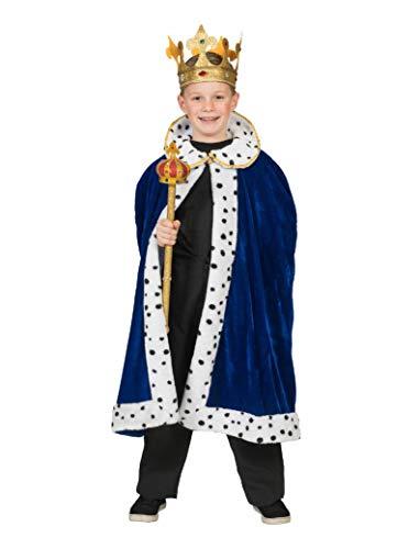 Umhang zum König Kostüm für Kinder - Blau Gr. 164