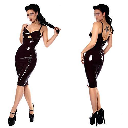 FASZFSAF Mini Vestido EróTico Sexy Wetlook Vestido Cuero Barniz Allure Cuello en V EláStico Clubwear Vestido Fiesta Charol,Negro,M