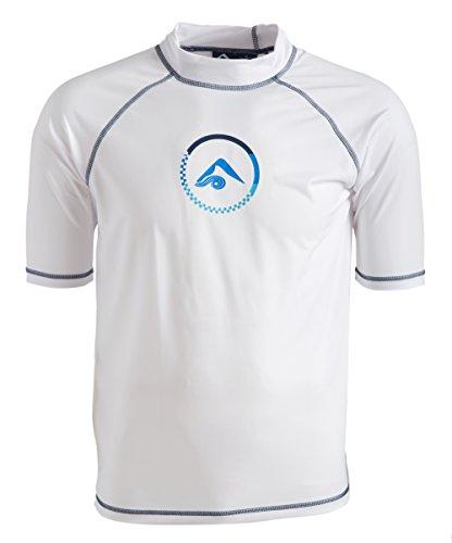 Kanu Surf Men's Standard Mercury UPF 50+ Short Sleeve Sun Protective Rashguard Swim Shirt, Haywire White, Medium