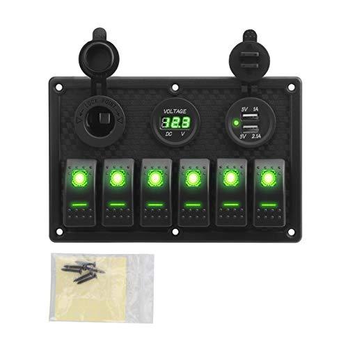 zhuzhu 5/6 Panel de interruptores de Rocker Gang with Fuse 4.2A Dual...