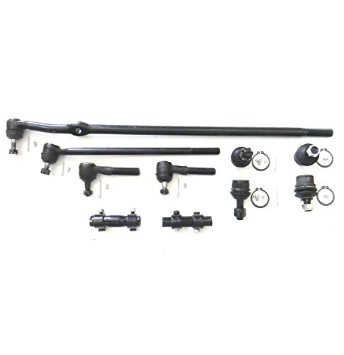 PartsW 10 Pc Front Suspension Kit for Ford F-250 1985-1994 / Drag Link, Inner & Outer Tie Rod Ends, Adjusting Sleeves and Upper & Lower Ball Joints