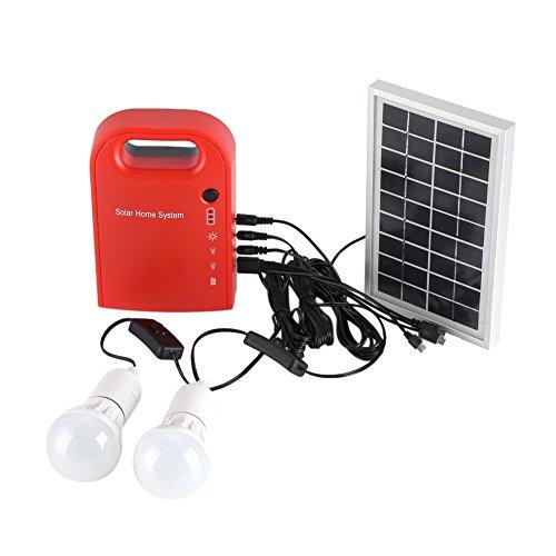 Solar-Home-System, 12V Solar-Beleuchtungssystem Portable Home Outdoor Solar Energy USB-Aufladung mit 2 LED-Lampen für Innen und Außen