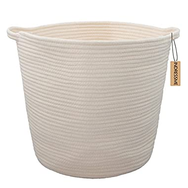 INDRESSME XL Cotton Rope Storage Basket Baby Laundry Basket Woven Baskets with Handle for Diaper Toy Off White Home Decor 16.0 x 15.0 x12.6