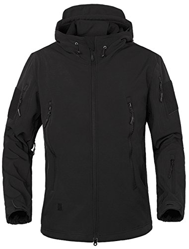 TACVASEN Herren Softshelljacke Winter Fleecejacke Softshell Wasserdicht Military Jacke Tactical Outdoorjacke Schwarz